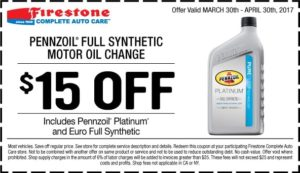 Firestone Full Synthetic Oil Change Coupon