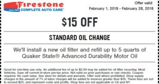 Firestone Standard Oil Change Coupon February 2018