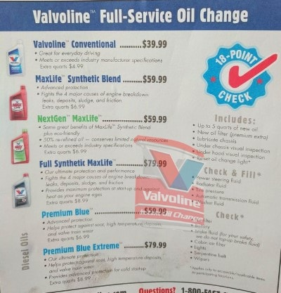 Valvoline Oil Change Prices
