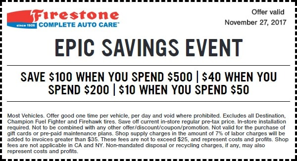 Firestone Black Friday Epic Savings Coupon