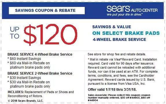 $120 OFF Sears Brake Service Coupon March 2018