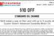Firestone Standard Oil Change Coupon March 2018
