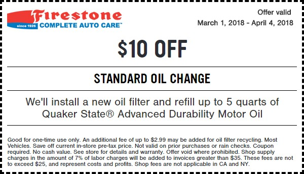 Brake Pad Replacement Cost Jiffy Lube >> Firestone Standard Oil Change Coupon for March 2018