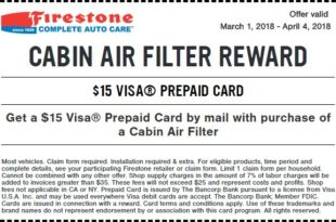 Firestone Cabin Air Filter Reward Coupon March 2018