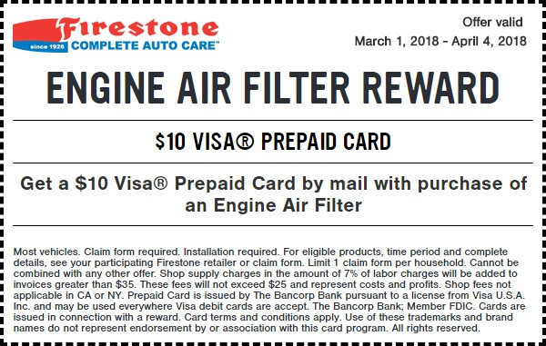 Firestone Engine Air Filter Coupon March 2018