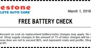 Firestone Free Battery Check Coupon March 2018