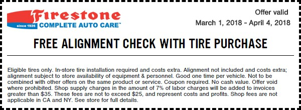 Firestone Free Wheel Alignment-Check Coupon March 2018