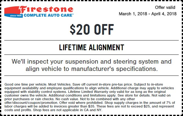 Firestone Lifetime Wheel Alignment Coupon March 2018