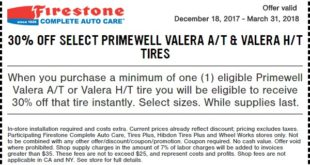 Firestone Primewell Valera Tire Coupon March 2018