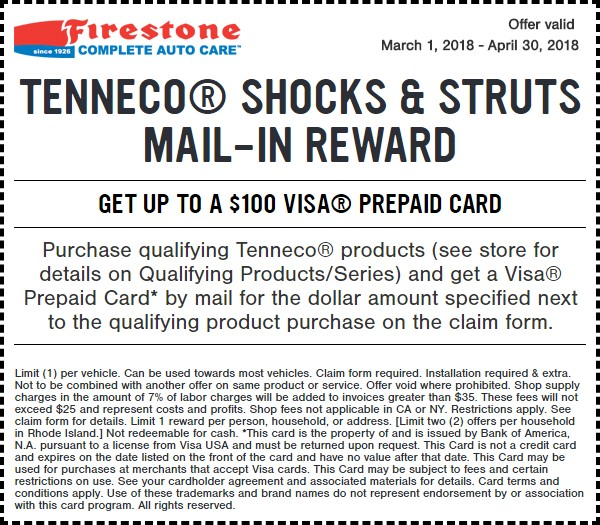 Firestone Shocks Struts Coupon March 2018