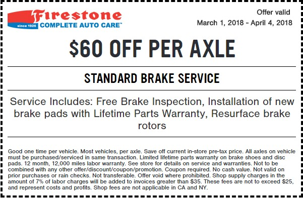 Firestone Standard Brake Service Coupon March 2018