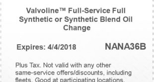 Valvoline Synthetic Oil Change Coupon