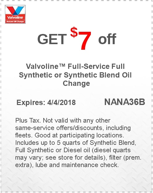 Valvoline Synthetic Oil Change Coupon APRIL 2018