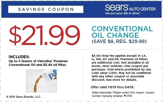 Sears Oil Change Coupons 2019 Get Printable Coupon Here