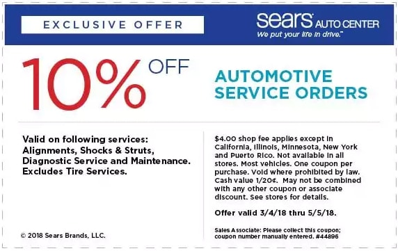 Automotive Service Orders Sears Coupon April 2018