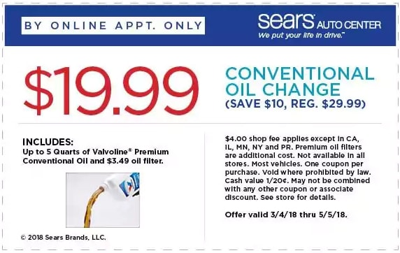 Sears Conventional Oil Change Coupon April 2018