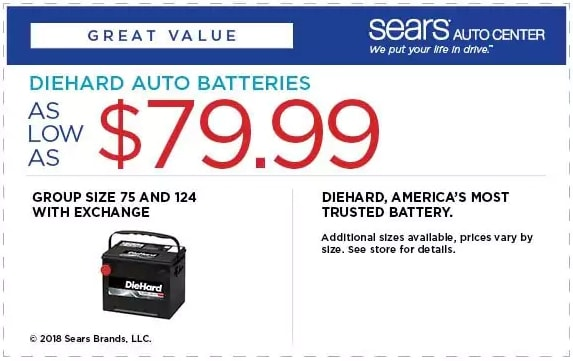 Sears DieHard Auto Battery Coupon April 2018