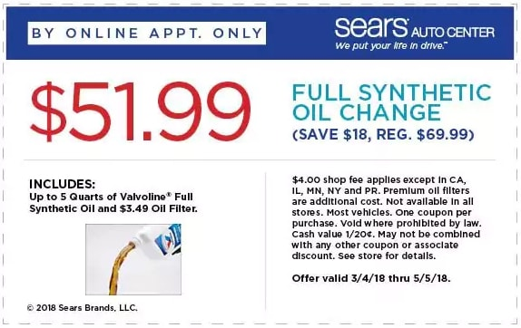 Sears Full Synthetic Oil Change Coupon April 2018
