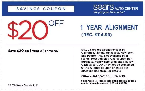 Sears One Year Wheel Alignment Coupon April 2018