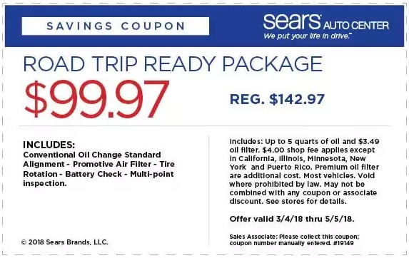 Sears Road Trip Package Coupon April 2018