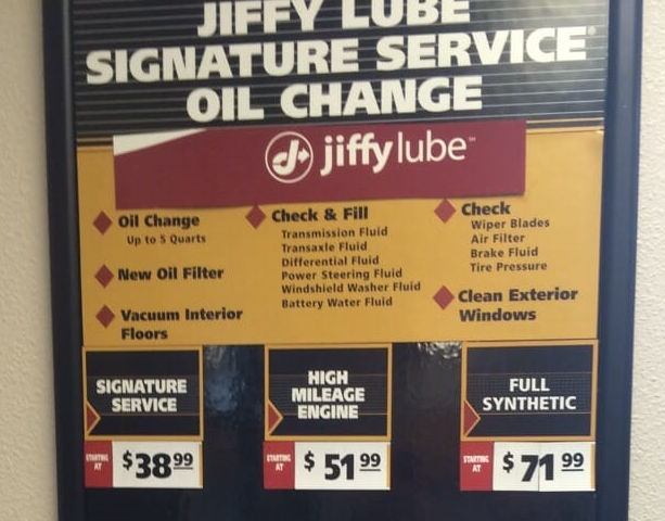 how much is an oil change at jiffy lube 2019