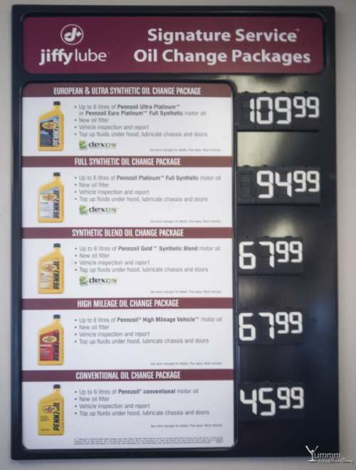 how much is oil change at Jiffy Lube