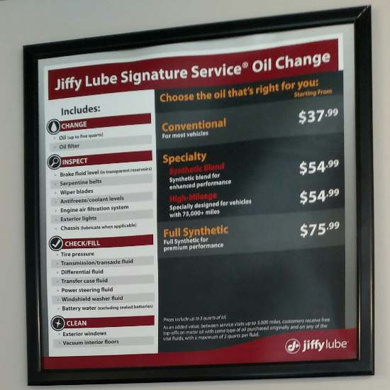 Jiffy Lube prices - Signature Service, Conventional or Synthetic motor oil