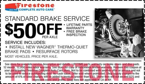 Use Firestone brake coupons to save up to 50% on brake pads replacement or resurface rotors