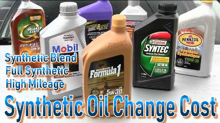 Find how much synthetic oil change cost by type of motor oil and auto service center